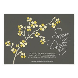 5X7 Cherry Blossom Designer Save the Date citrus Announcement