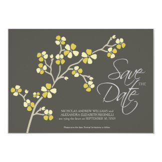 "5X7 Cherry Blossom Designer Save the Date : citrus 5"" X 7"" Invitation Card"