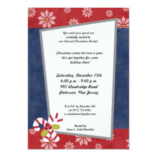 5x7 Christmas Holly on Candy Canes Invitation