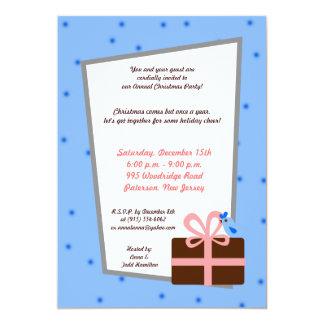 "5x7 Christmas Present Blue Bird Invitation 5"" X 7"" Invitation Card"