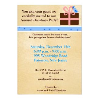 5x7 Christmas Present Blue Bird Invitation