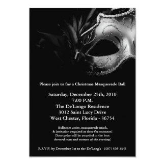 "5x7 Christmas XMAS Masquerade Ball Mask Invitation 5"" X 7"" Invitation Card"