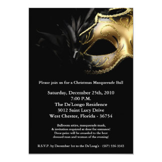5x7 Christmas XMAS Masquerade Ball Mask Invitation