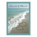 5x7 Custom Sand Hearts Beach Destination Wedding 13 Cm X 18 Cm Invitation Card