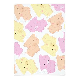 "5x7 Cute Little Piggy Pig's Birthday Party Invite 5"" X 7"" Invitation Card"