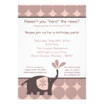 5x7 Cute Purple Elephant Birthday Party Invitation