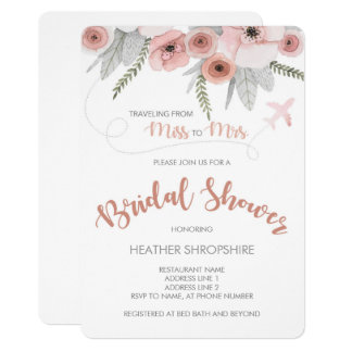 5x7 Destination Wedding Bridal Shower Invitation