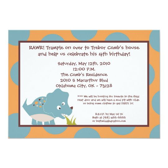 5x7 Dinosaur Dino Tricer Birthday Party Invitation