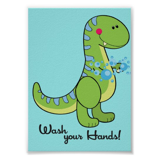 5x7 Dinosaur Wash Your Hands Bathroom Wall Art Zazzle Co Uk