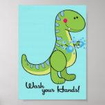 5x7 Dinosaur Wash Your Hands Bathroom Wall Art Print