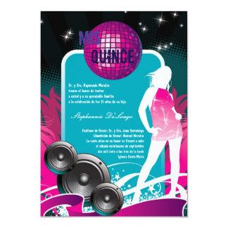5x7 DJ Dance Party Girl Quinceanera Invitation