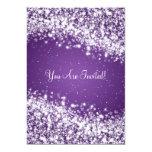 5x7 Elegant Wedding Sparkling Wave Purple Custom Invite