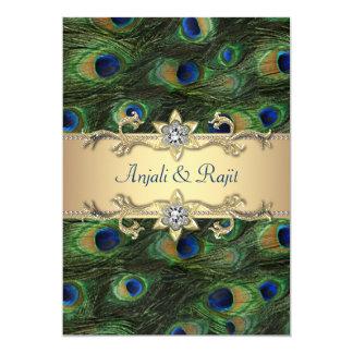5x7 Emerald Green Elegant Peacock Wedding 13 Cm X 18 Cm Invitation Card