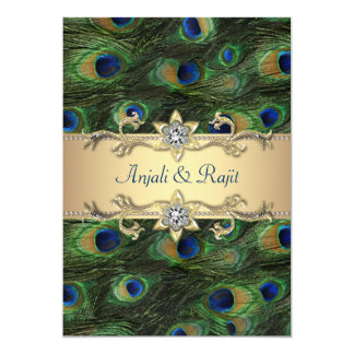 5x7 Emerald Green Elegant Peacock Wedding 13 Cm X 18 Cm Invitation Card
