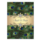 5x7 Emerald Green Elegant Peacock Wedding Card