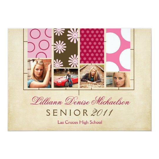 5x7 Fabric Swatches Photo Senior Announcement