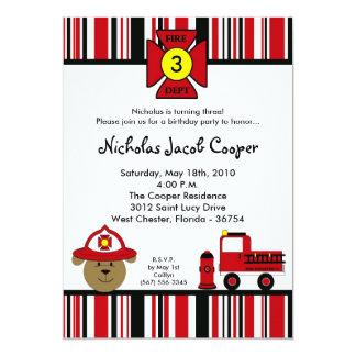 5x7 Fire Dog Firetruck Birthday Party Invitation