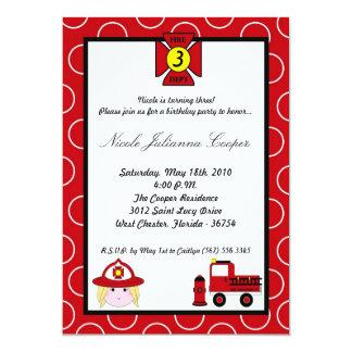 5x7 Firewoman Firetruck Birthday Party Invitation