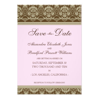 5x7 Flat Save the Date Vintage Baroque baby pink Custom Announcements