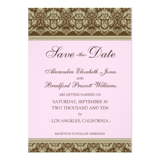 5x7 Flat Save the Date Vintage Baroque: baby pink Custom Announcements