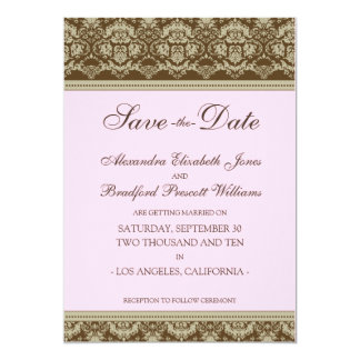 "5x7 Flat Save the Date Vintage Baroque: baby pink 5"" X 7"" Invitation Card"