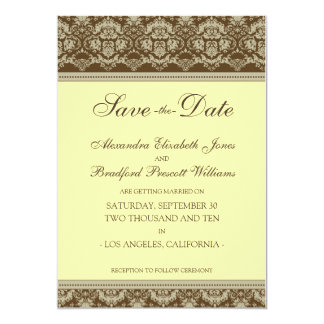 "5x7 Flat Save the Date Vintage Baroque :: lemon 5"" X 7"" Invitation Card"