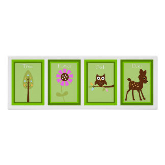 5X7 Forest Friends Wall Art Collection Print
