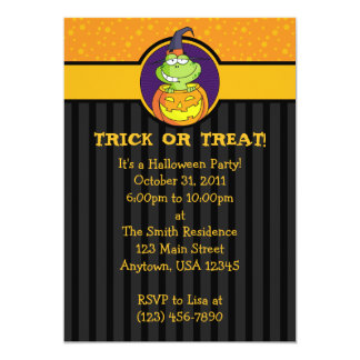 "5x7 Frog Jack o Lantern Halloween Party Invitation 5"" X 7"" Invitation Card"