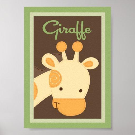 "5x7 ""Giraffe"" Jungle Safari Baby Bedding Wall Art Posters"