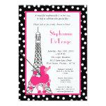 5x7 Girl Pink Poodle Paris Baby Shower Invitation