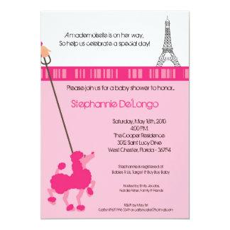 "5x7 Girl Pink Poodle Paris Baby Shower Invitation 5"" X 7"" Invitation Card"
