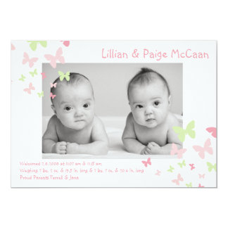 5x7 Girl Twins Butterfly Photo Birth Announcement Card
