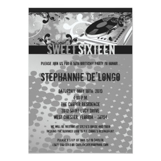 5x7 Gray DJ Spin Turntable16th Birthday Invitation