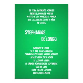 5x7 Green DJ Spin Turntable Quinceanera Invitation