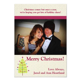 5x7 Green Tree / Ornaments Christmas Invitation