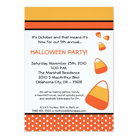 5x7 Halloween Candy Corn Halloween Invitation