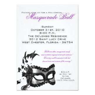 "5x7 Halloween Masquerade Ball Mask Invitation 5"" X 7"" Invitation Card"
