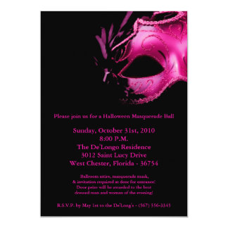 5x7 Halloween Masquerade Ball Mask Invitation