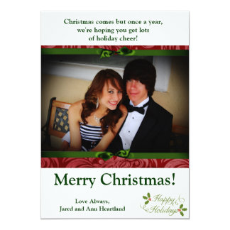 5x7 Happy Holidays Christmas Holly Invitation