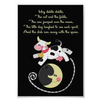 5x7 Hey Diddle Diddle Rhyme Kids Room Wall Art Poster