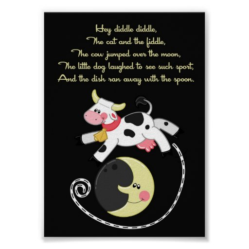 5x7 Hey Diddle Diddle Rhyme Kids Room Wall Art Print