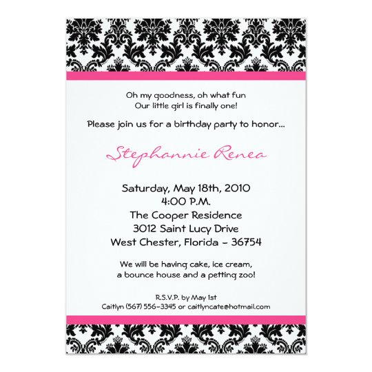 5x7 Hot Pink Blac Damask Birthday Party Invitation