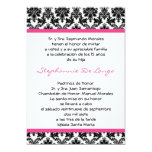5x7 Hot Pink Blac Damask Quinceanera Invitation