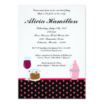 5x7 Hot Pink Cocktails Bachelorette Invitation
