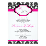5x7 Hot Pink Damask Quinceanera Invitation