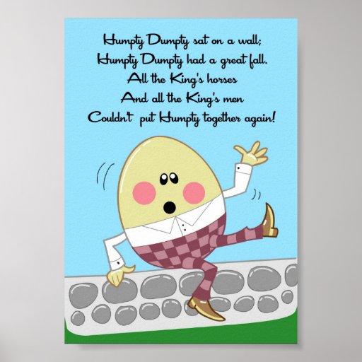 5x7 Humpty Dumpty Rhyme Kids Room Wall Art Print