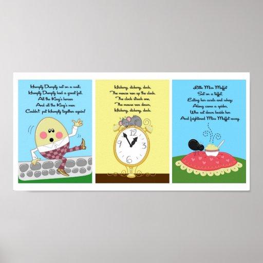 5x7 Humpty Hickory Miss Muffet Kids Room Wall Art Print