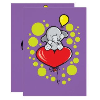 5x7 Invitation Bracket with elephant and ballons