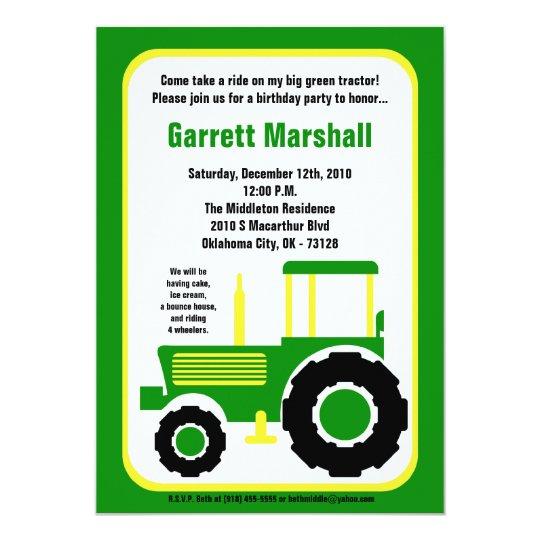 5x7 John Green Farm Tractor Birthday Invitation