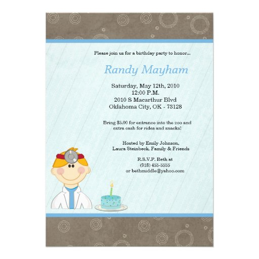 5x7 Kid Boy Doctor Birthday Party Invitation